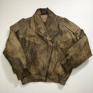 ALLAENETTI LAMB LEATHER BOMBER DISTRESSTED Jacket